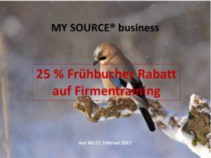Erfolg mit MY SOURCE business Frühbucherrabatt